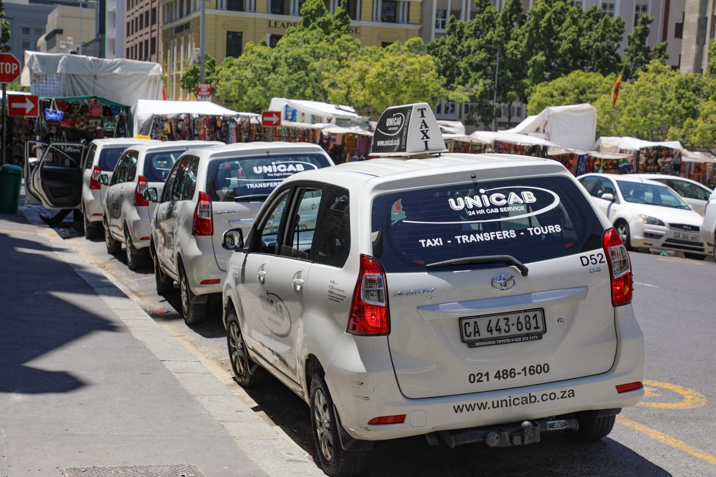 Een taxistandplaats in Kaapstad